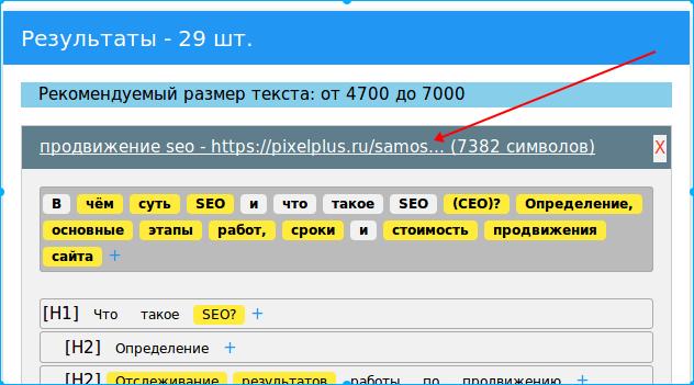 Пример обрезки длинного URL в Textmania